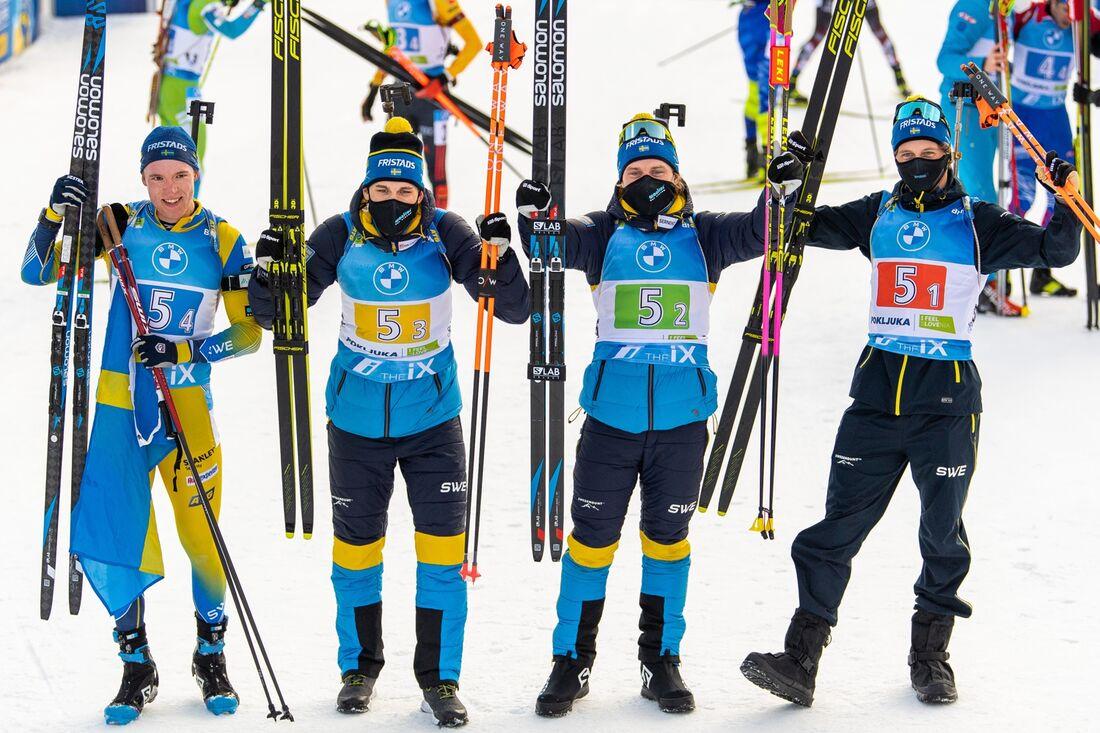 Det svenska silverlaget: Sebastian Samuelsson, Martin Ponsiluoma, Jesper Nelin och Peppe Femling. FOTO: Joel Marklund/Bildbyrån.
