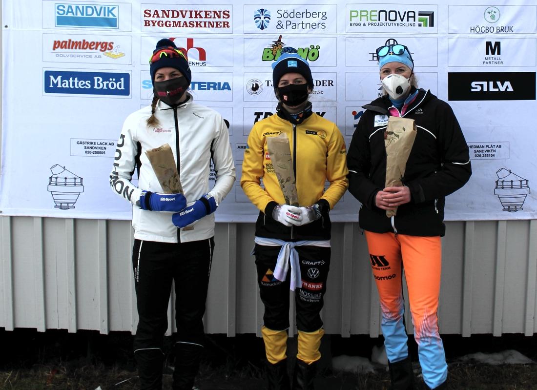 Topptrion i damklassen. Fr.v. tvåan Linn Sömskar, ettan Ida Dahl och trean Maria Gräfnings. FOTO: Bessemerloppet.