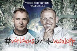 Idag är komikern Måns Möller och längdcoachen Christer Skog på väg mellan Sälen och Mora för tionde dagen i rad. FOTO: Viggo Foundation.