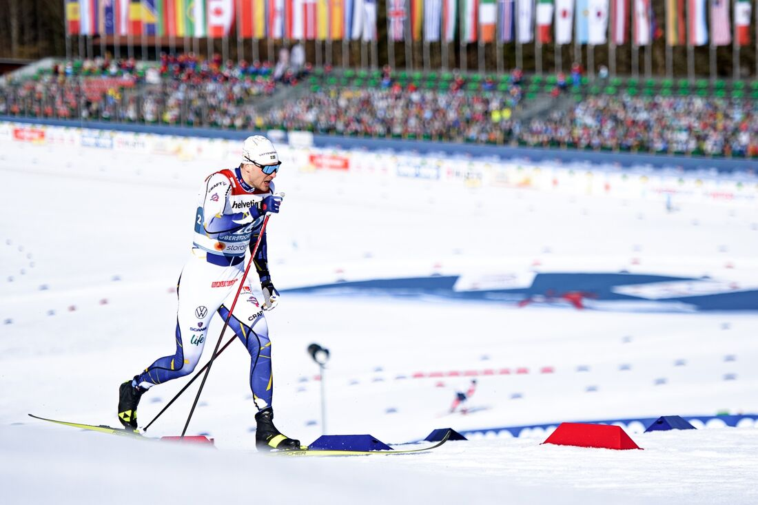 Marcus Grate var snabbast av de svenska åkarna på sprintprologen i Oberstdorf. FOTO: Johanna Lundberg/Bildbyrån.