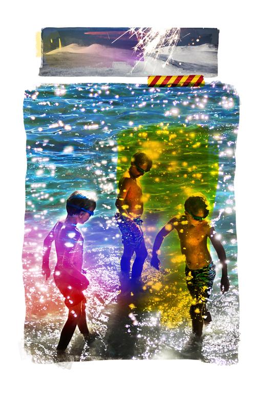 Kunstbilde som viser tre gutter som bader ute, laget av kunstneren Per Fronth, Ateliér Fronth