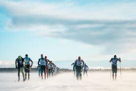 Tätklungan på Nordenskiöldsloppet 2019. Nu kommer loppet med en Challenge på sociala träningstjänsten Strava. FOTO: Magnus Östh/Red Bull Content Pool.