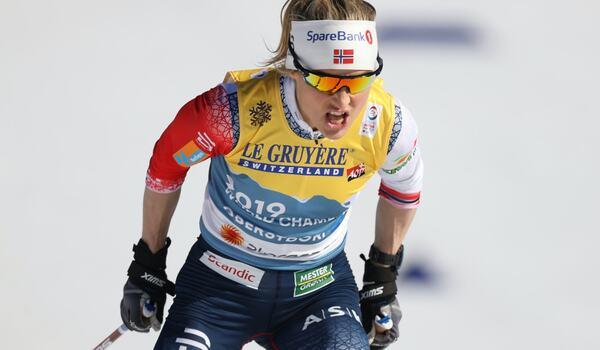 Therese Johaug vann guld I överlägsen stil på 10 km fri stil vid VM i Oberstdorf. FOTO: Christian Walgram, Gepa Pictures/Bildbyrån.