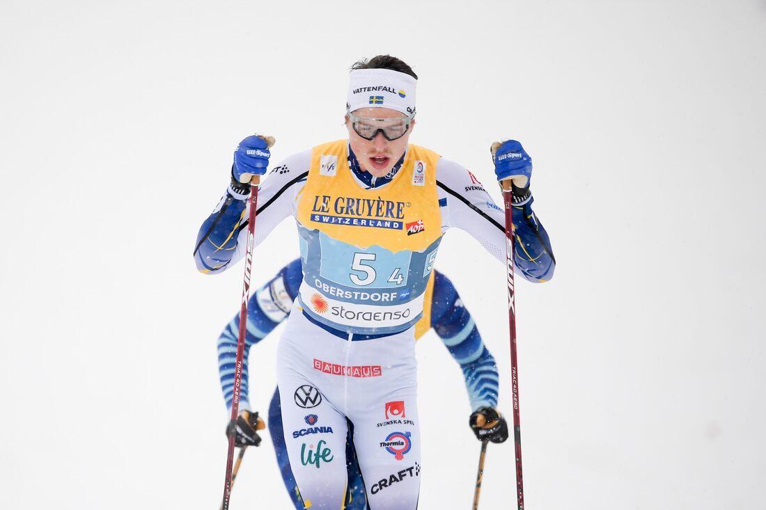 William Poromaa förde Sverige till fjärde plats på VM-stafetten i Oberstdorf. FOTO: Johanna Lundberg/Bildbyrån.