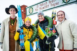 Lina Korsgren och Petter Eliassen vann Vasaloppet 2020. Kan de försvara sina segrar i morgon? FOTO: Visma Ski Classics/Magnus Östh.