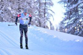 Oskar Kardin på väg mot överlägsen soloseger på Engadin La Diagonela i januari. Nu är Kardin redo för att kämpa om en seger i Vasaloppet. FOTO: Björn Reichert/Nordic Focus.