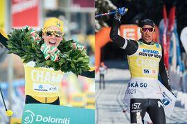 Lina Korsgren och Emil Persson har dominerat Visma Ski Classics den här vintern och båda åker i den gula ledarvästen på Vasaloppet i morgon. FOTO: Visma Ski Classics.