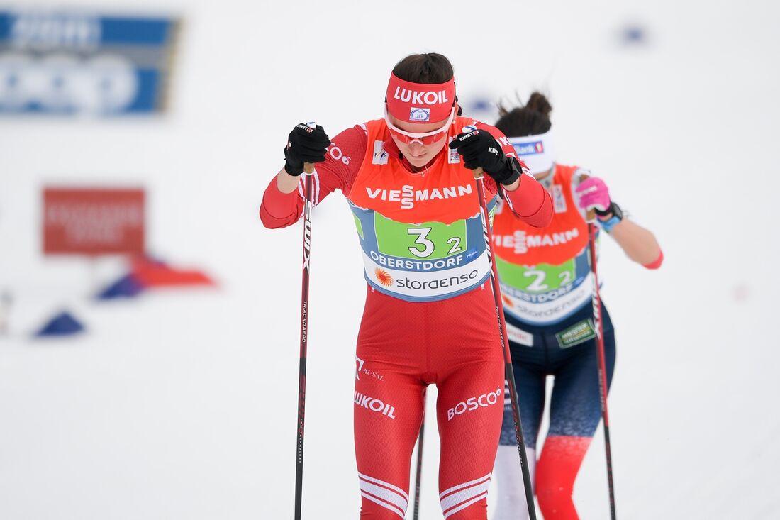 Yulia Stupak vann masstarten i Engadin på lördagseftermiddagen. FOTO: Johanna Lundberg/Bildbyrån.