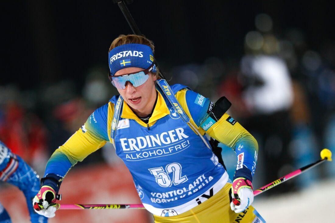 Anna Magnusson gjorde en stark andra sträcka som bäddade för att Sverige tog sig upp på pallen på mixstafetten i Nove Mesto. FOTO: Kalle Parkkinen/Bildbyrån.