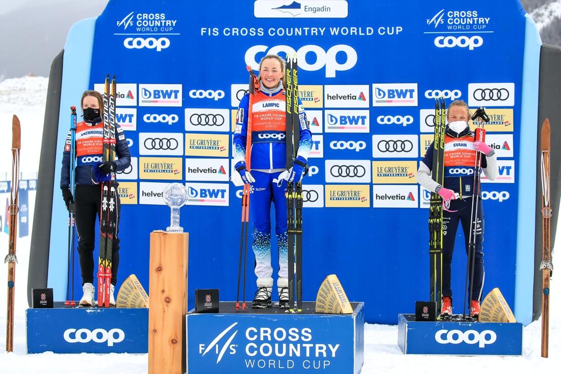 Topp tre i sprintcupen. Nadine Faehndrich, Anamarija Lampic och Linn Svahn. FOTO: Mario Buehner, Gepa Pictures/Bildbyrån.