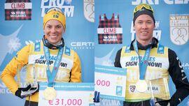 Lina Korsgren och Emil Persson har varit säsongens klart bästa åkare i Visma Ski Classics. Lina med sex delsegrar och Emil med fyra. FOTO: Visma Ski Classics/Magnus Östh.