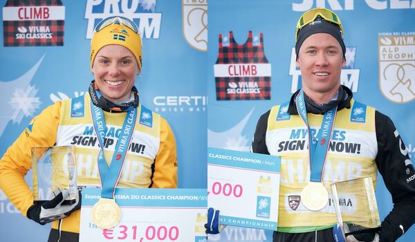 Både Lina Korsgren och Emil Persson kommer till start i Vaajmarathon. FOTO: Visma Ski Classics/Magnus Östh. FOTO: Visma Ski Classics/Magnus Östh.
