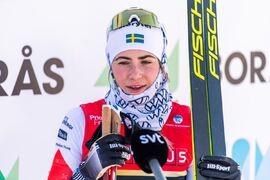 Ebba Andersson vann 15 kilometer klassiskt vid Volkswagen cup i Falun på söndagen. FOTO: Mathias Bergeld/Bildbyrån.