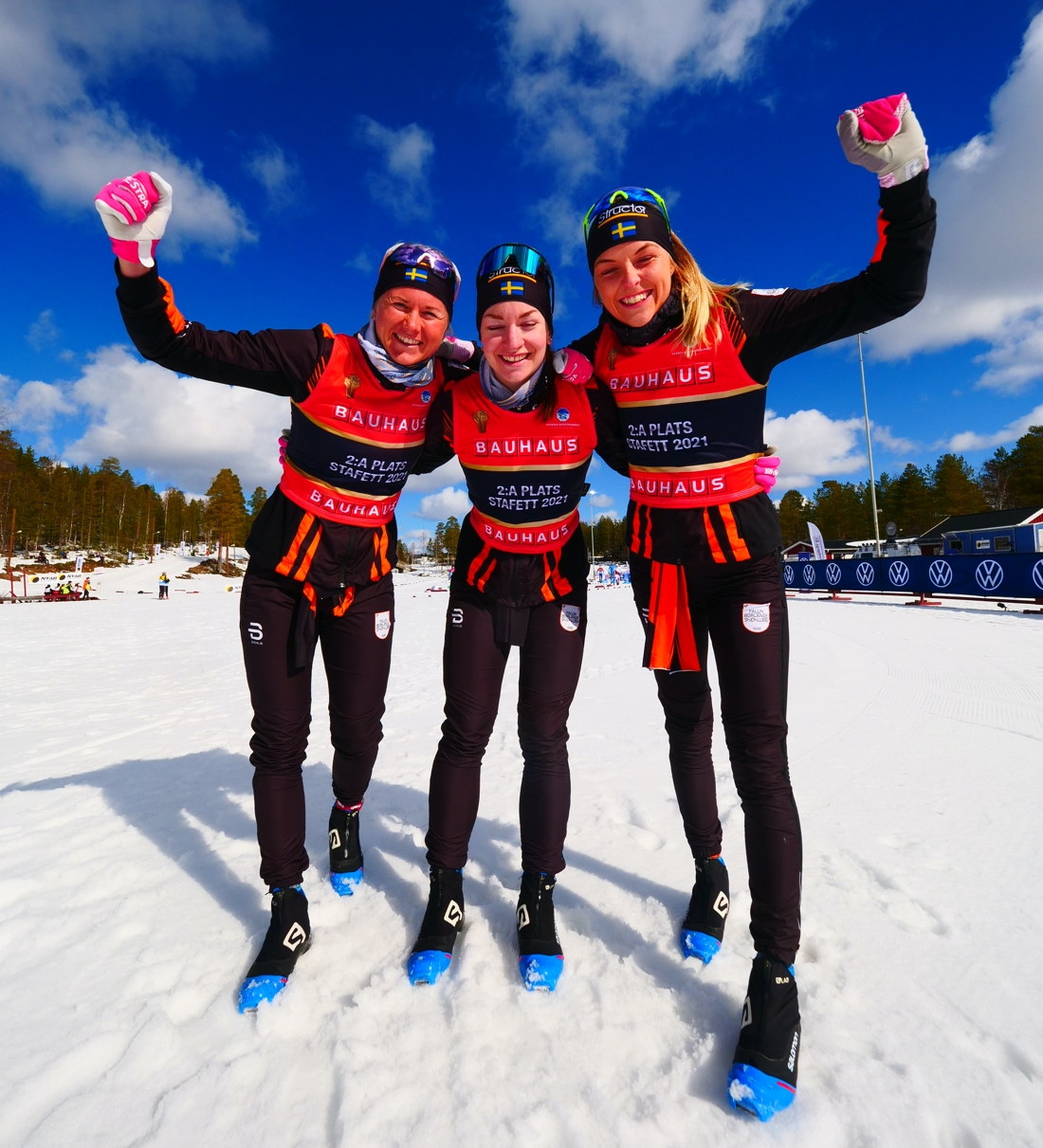 Falun Borlänges silvertjejer: Maja Dahlqvist, Moa Olsson och Louise Lindström. FOTO: Hans Olsson.