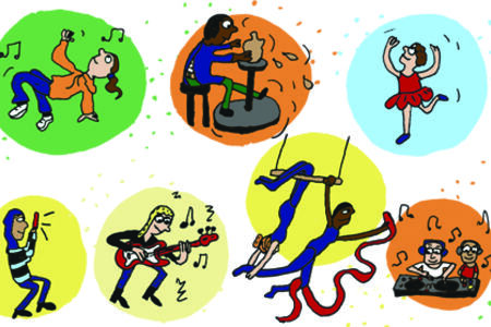 Illustrasjon som viser barn i ulike aktiviteter