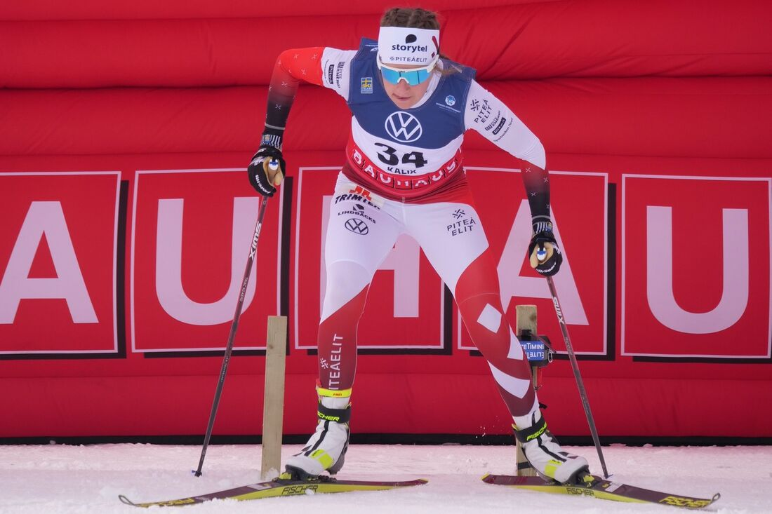 Ebba Andersson vann en förkrossande seger på SM-tremilen på söndagen. FOTO: Hans Olsson.