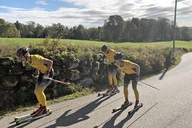 Team Ramuddens åkare trivs på vägarna på Hallandsåsen och kommer till start på nya rullskidloppet Båstad-Mölle den 5 juni. FOTO: Johan Trygg/Längd.se.