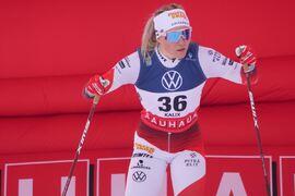 VM-drottningen Jonna Sundling, här vid SM i Kalix, siktar förstås mot att stå högst upp på pallen vid Peking-OS nästa vinter. Då går sprinten Sundlings favoritteknik, skejt. FOTO: Hans Olsson.