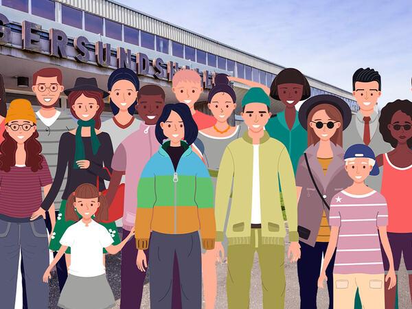 Befolkningen utenfor Egersundshallen
