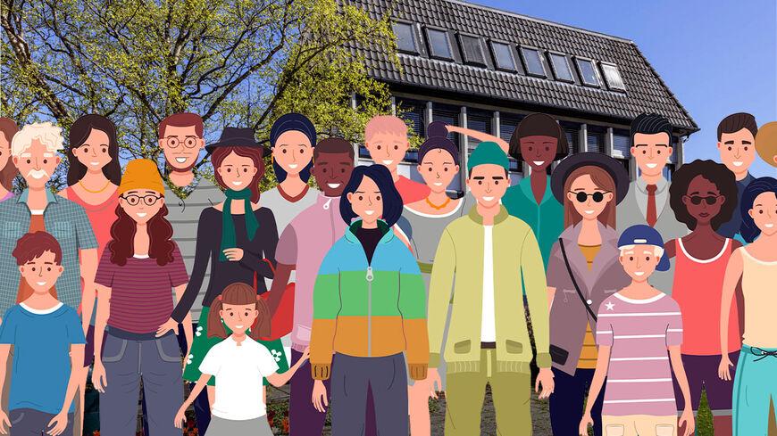 Befolkningen utenfor rådhuset