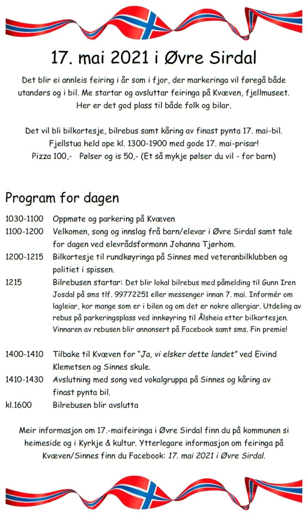 17 mai program SINNES 2021