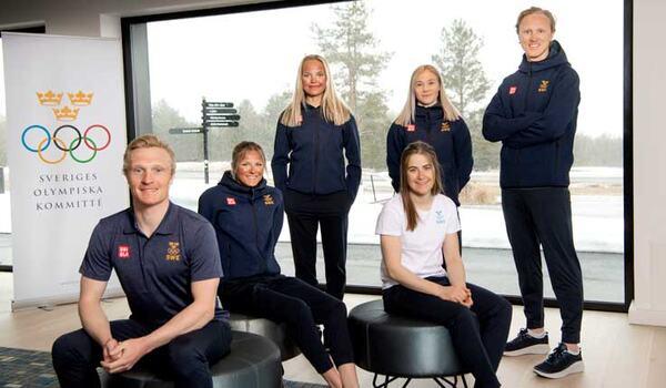 Jens Burman, Frida Karlsson, Linn Svahn, Jonna Sundling, Ebba Andersson och Oskar Svensson under OS-uttagningen i Östersund. FOTO: TT.