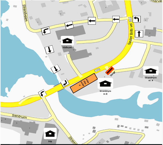 Kart alternativ rute fotgjengere