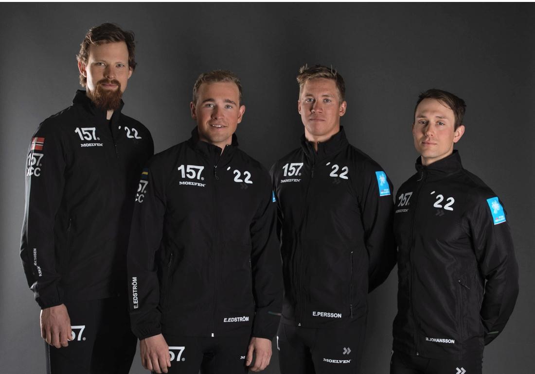 Runar med sina nya lagkompisar, Eddie Edström, Emil Persson och Marcus Johansson. FOTO: Lager 157 Ski Team.