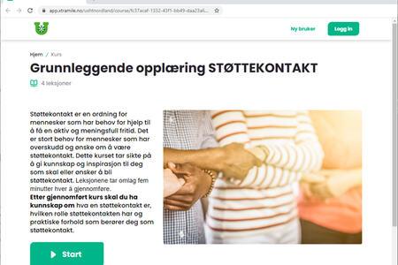 Skjermbilde av forsiden til e-læringskurs om støttekontakt