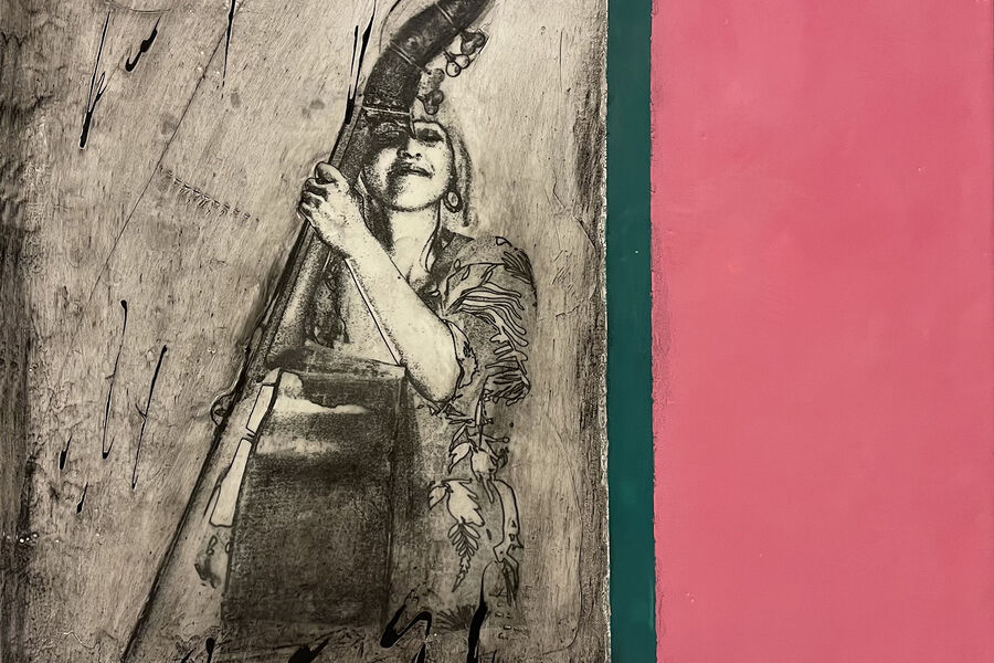 Jurek Karwowski- Encaustic ( bilder laget med bivoks ) Modell: Ellen Andrea Wang. Bromkameratenes utstilling i Nedre Follo Bibliotek til 2. juni 2021.