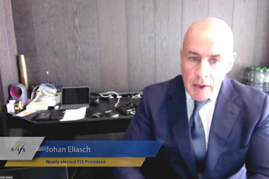 Johan Elisasch är ny president i FIS. FOTO: FIS YouTube-sändning.