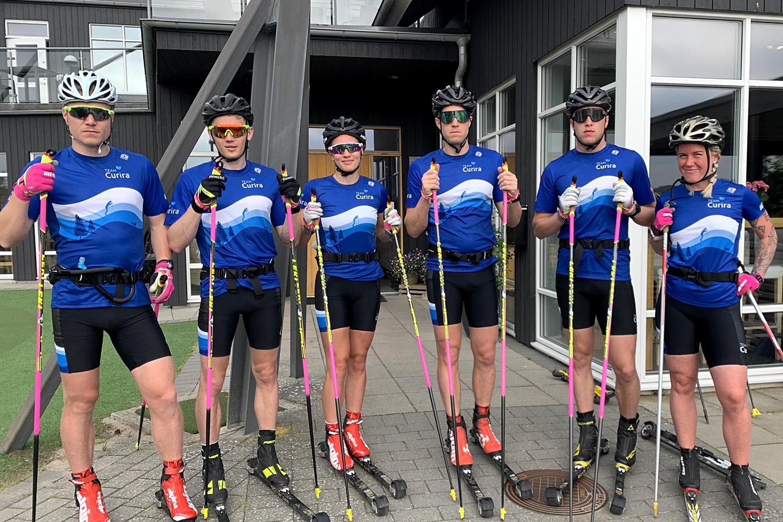 Nya Team Curira. Fr.v Gabriel Thorn, Stian Hoelgaard, Hanna Lodin, Klas Nilsson, Alfred Nilsson och tränaren Emma Dahlgren. FOTO: Johan Trygg/Längd.se.