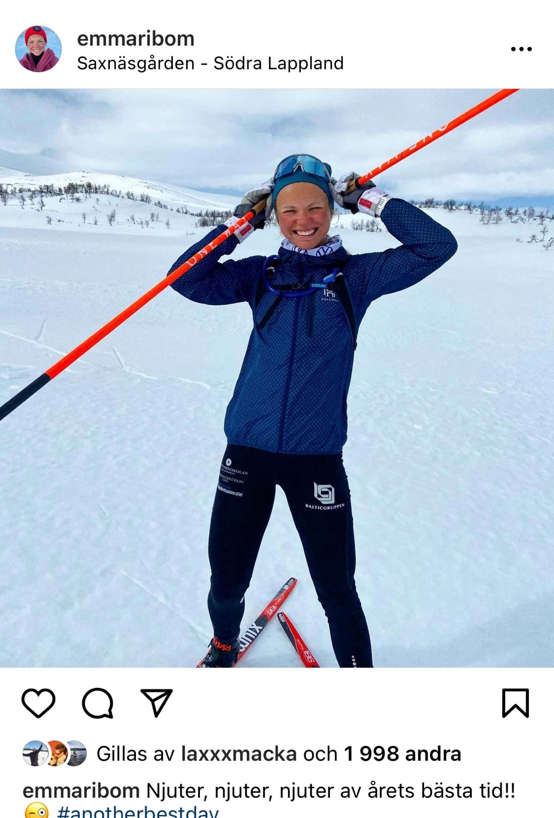 23 maj var sista passet på snö för Emma Ribom under våren. Här är Emma vid Saxnäs några veckor tidigare. FOTO: Emma Ribom Instagram.