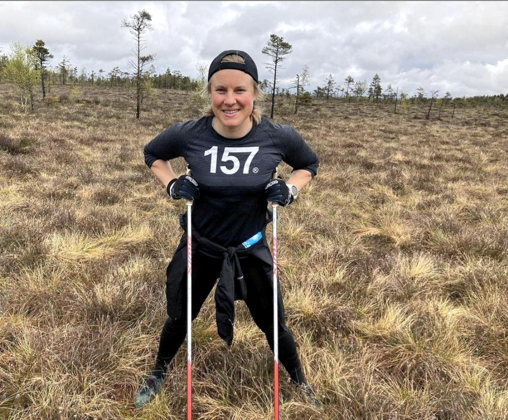 Hanna Falk trivs med träningen inför första säsongen som långloppsåkare i Lager 157 Ski Team. FOTO: Privat.