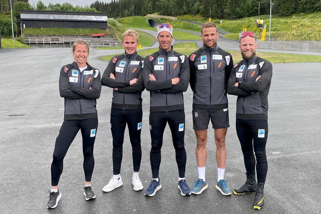 Astrid Öyre Slind, Torleif Syrstad, Chris Jespersen, Niklas Dyrhaug och Martin Johnsrud Sundby är nya långloppslaget Team Koteng Eidissen. FOTO: Team Koteng Eidissen.