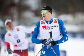Marcus Grate efter seger på Volkswagens cup i Östersund i vintras. Nu är Grate en del av A-landslaget inför OS-vintern. FOTO: Johanna Lundberg/Bildbyrån.