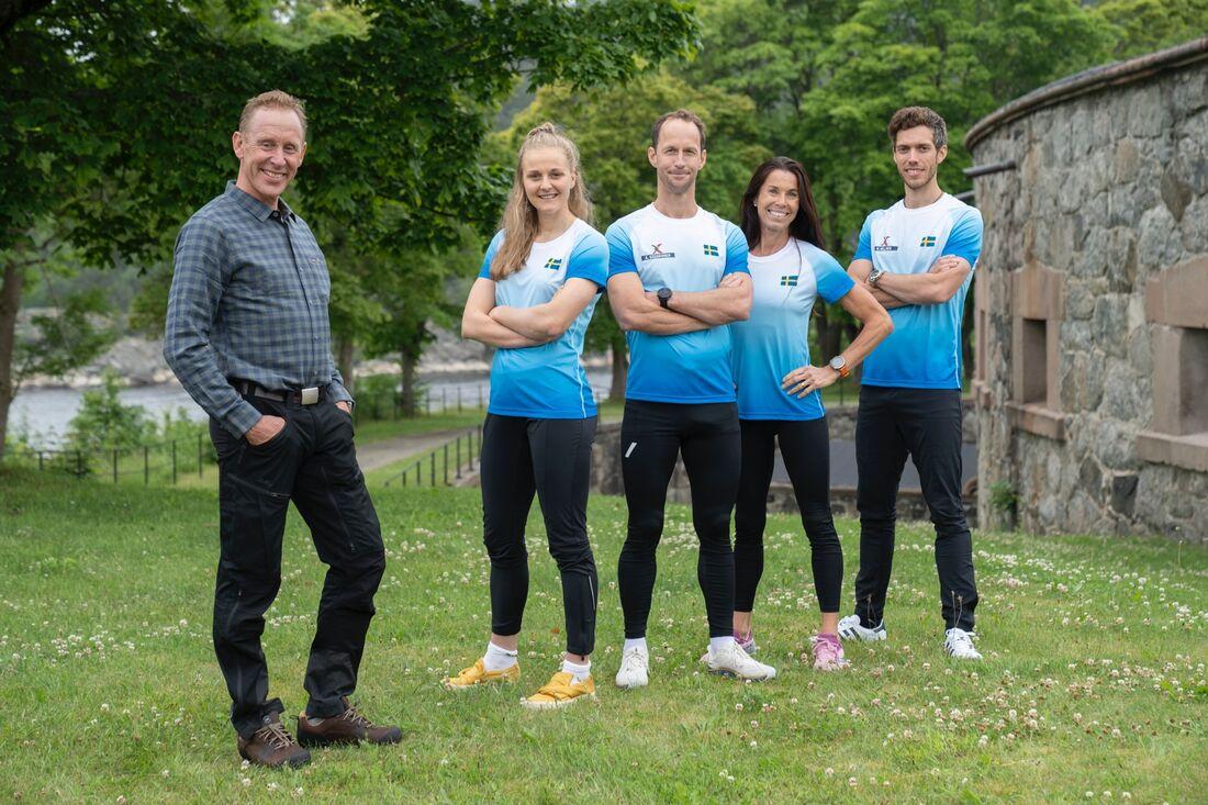 Stina Nilsson, Anders Södergren, Magdalena Forsberg och Marcus Hellner försvarar de svenska färgerna i årets säsong av Sverige mot Norge. Gunde Svan är programledare tillsammans med Marit Björgen. FOTO: Espen Solli/TV2.