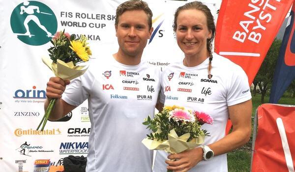 IFK Umeå-åkarna Erik Silfver och Linn Sömskar vann båda söndagens masstartslopp vid rullskidvärldscupen i Slovakien. FOTO: Instagram Erik Silfver.