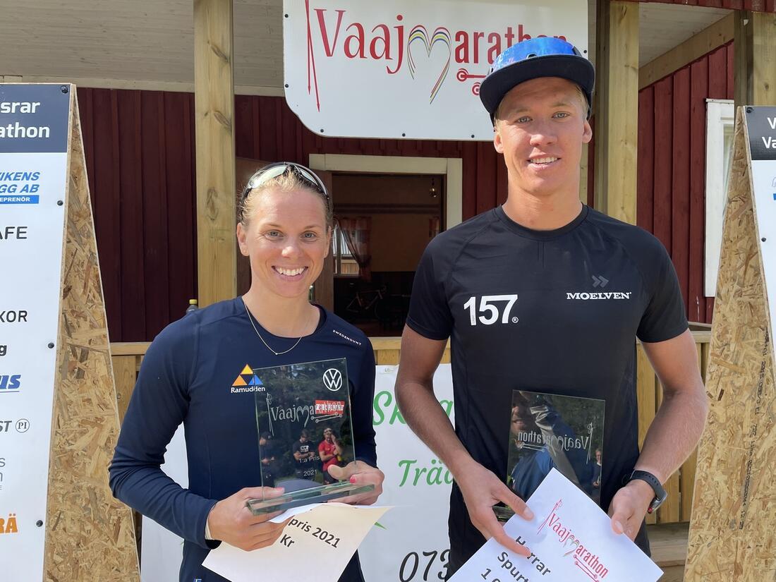 Lina Korsgren och Emil Persson vinnare av Vaajmarathon. FOTO: Anton Karlsson / Längd.se