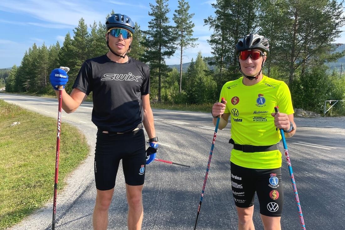 William Poromaa och Jens Burman utmanar norrmännen på Lysebotn Opp i eftermiddag. FOTO: Anton Karlsson/Längd.se.