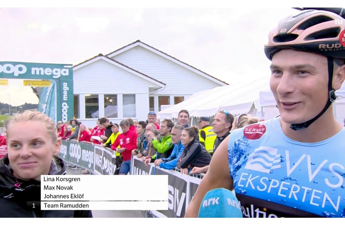 Max Novak förde Team Ramudden till seger i åttatimmars-stafetten Blink Classics Team Challenge på söndagskvällen. Här är Max med Lina Korsgren direkt efter målgång. FOTO: Från NRK:s sändning.