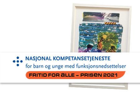 Bilde av logoen til fritid for alle-prisen og bildet som blir gitt til prismottakerne