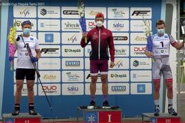 Erik Silfver tog andraplatsen på sprinten vid rullskidvärldscupen i Otepää, Estland idag. FOTO: Från arrangörens sändning.