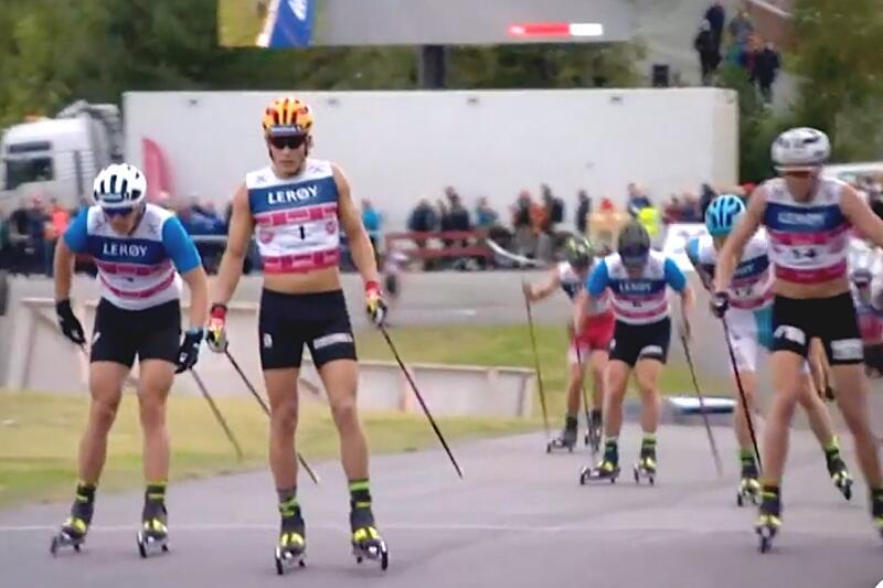 Johannes Hösflot Kläbo spurtade till seger på skitahlon-loppet som avslutade Toppidrettsveka och blev totalsegrare. FOTO: Facebook Toppidrettsveka.