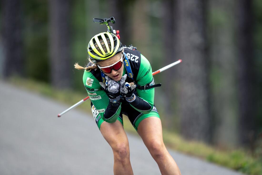 Stina Nilsson vann guld i går och står på start igen när SM i rullskidskytte i Sollefteå fortsätter med kortdistans under söndagen. FOTO: Per Danielsson/Projekt.P
