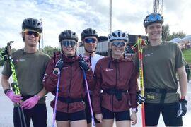 Malte Jutterdal, längt till höger, åkte in på tredje plats i juniorklassen vid rullskidvärldscupen i Otepää på söndagen. FOTO: Svenska skidförbundet.