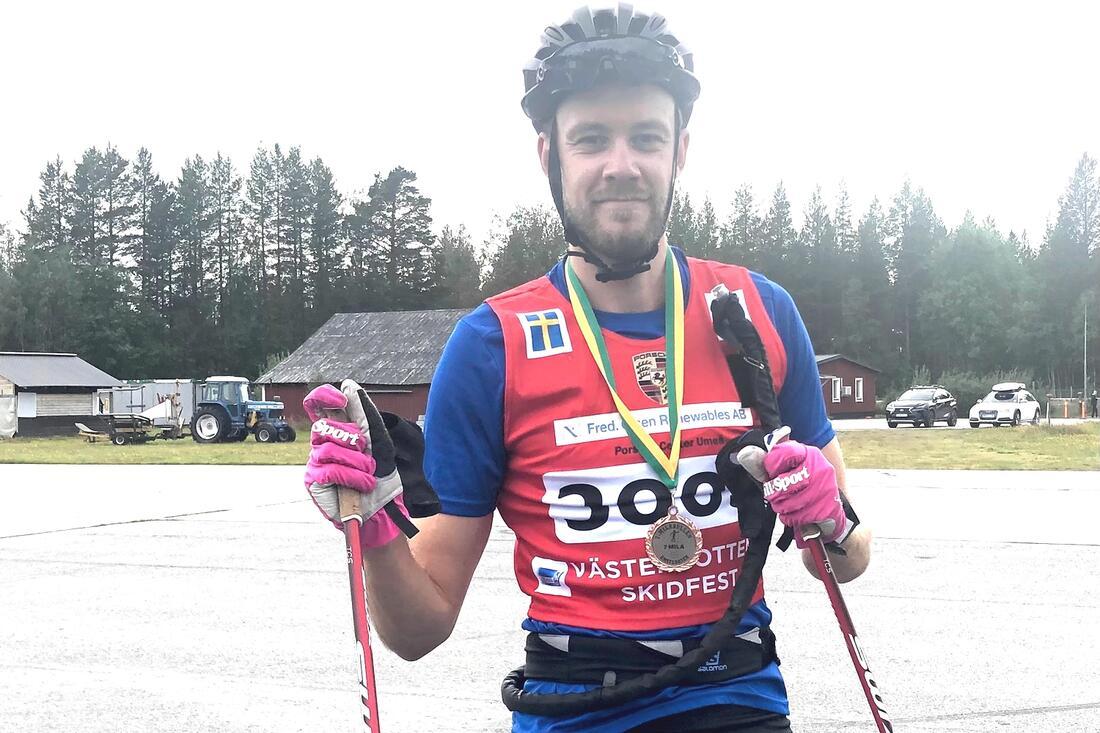 Daniel Holmgren satte nytt banrekord på 7-milarullen på söndagen. FOTO: Roland Edlund.