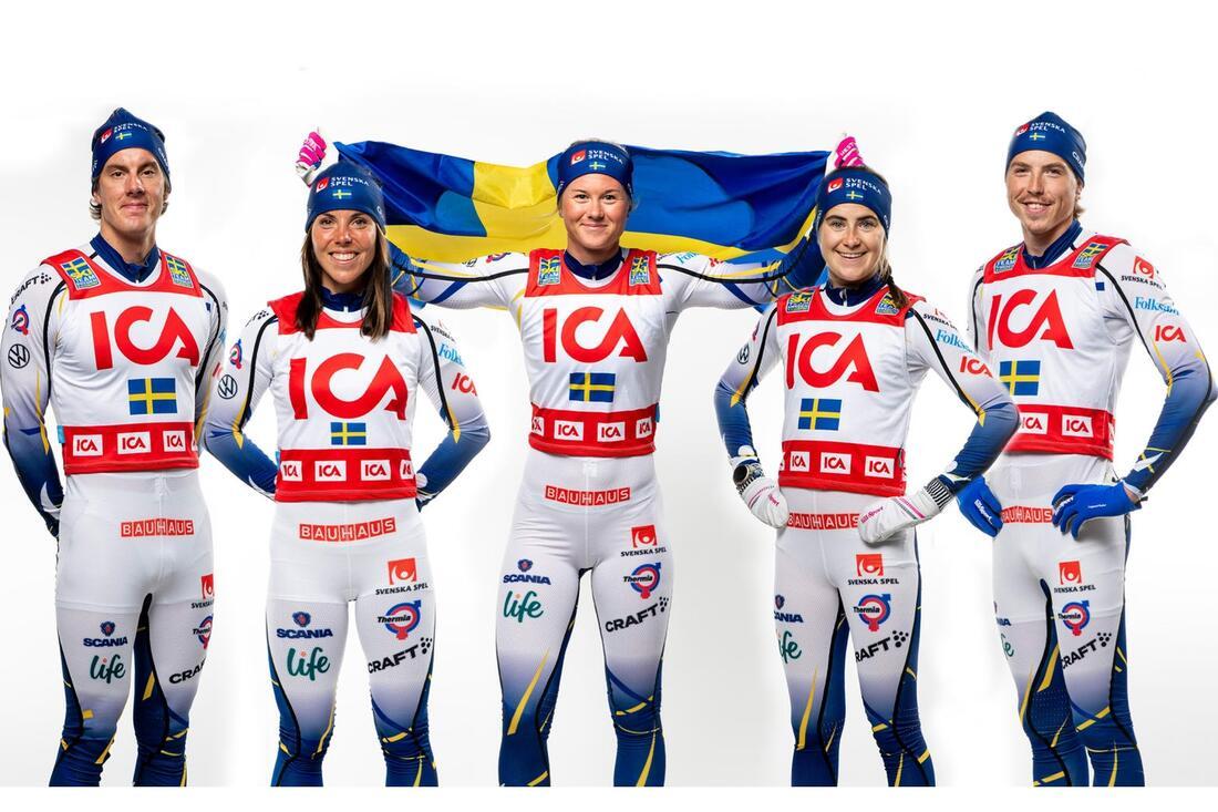 ICA fördjupar samarbetet med längdlandslaget och förlänger samarbetet till och med säsongen 2023/2024. FOTO: Svenska skidförbundet.