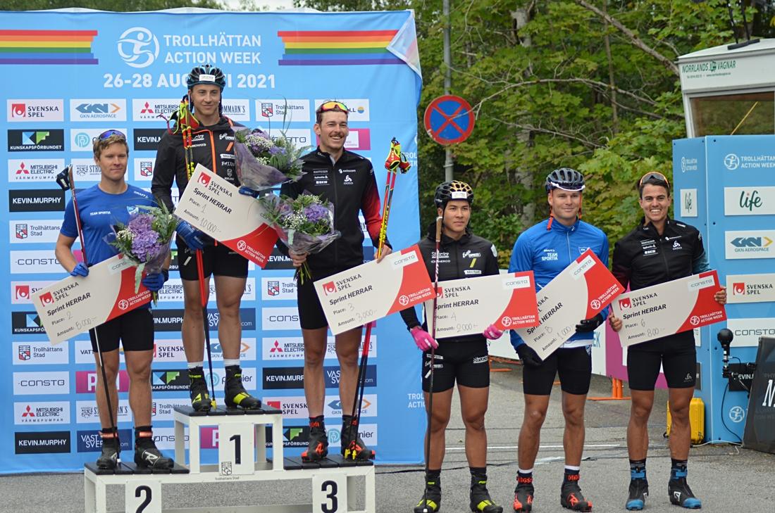 Topp sex i finalen; tvåan Erik Silfver, ettan Anton Persson, trean Cédric Steiner, fyran George Ersson, femman Marcus Grate och sexan Roman Schaad. FOTO: Johan Trygg/Längd.se.