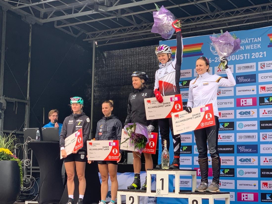 Fem av de sex bästa i Alliansloppets damklass. Femman Thea Krokan Murud saknas. FOTO: Johan Trygg/Längd.se.